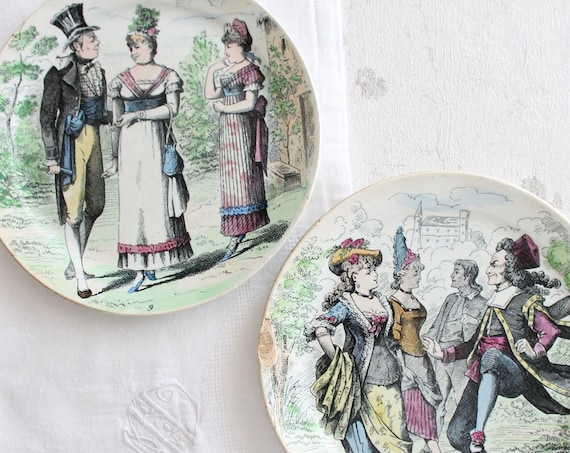 2 antique ceramic decorative plates, from L.M. & Cie CREIL Et Montereau, France
