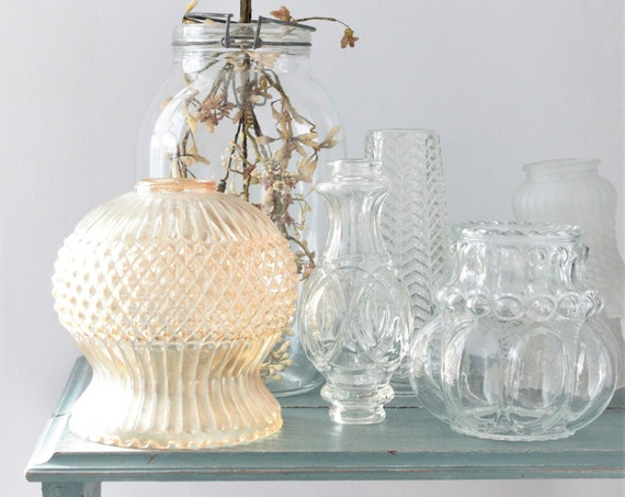 French vintage glass light, transparent, multifaceted glass, globe for glass suspension,