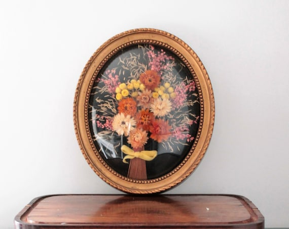 Vintage golden frame with dried flowers bouquet under globe, wedding bouquet, antique bouquet, CDR191685