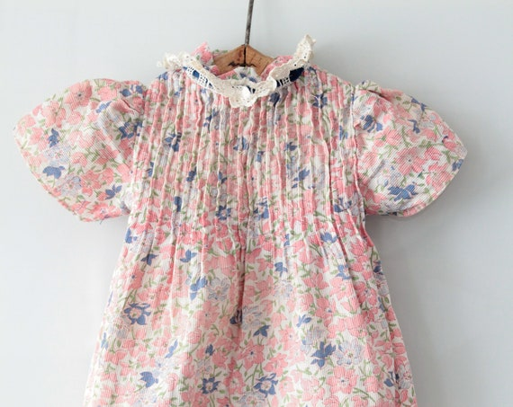 6/9 Months Vintage Flower Girl Dress, Country Style, Multicolored Flower Pattern, Embroidered Collar, 1960, BB181459