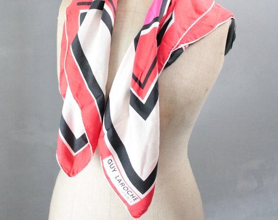 Silk scarf, red and black vintage scarf Guy Laroche, scarf, fashion accessory, FOUL181473
