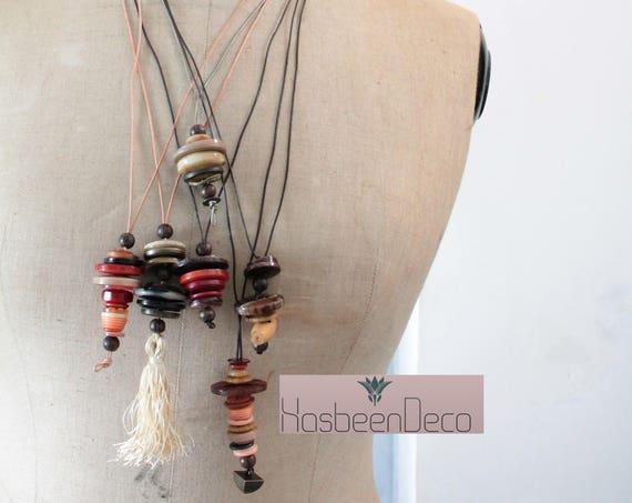 Collier en boutons anciens, collier unique, bijou fait main unique, cadeau pour elle, collier ethnique, collier réversible.