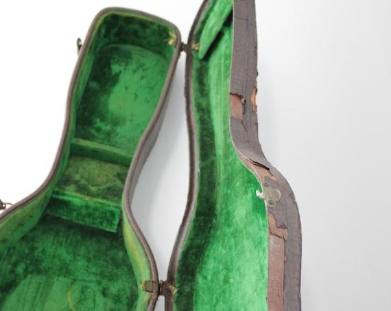 Antique violin suitcase, Basset violin, carrying case, musical instrument, decorative suitcase, green suitcase