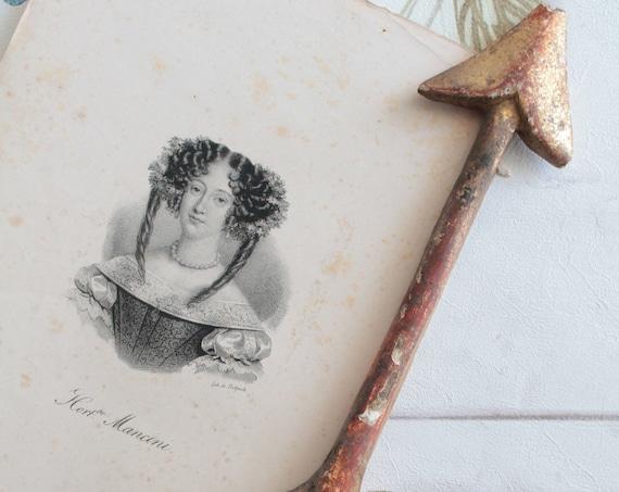 Beaux portraits anciens, Lithographie anciennes de Delpech d'environ 1840, des femmes célèbres de l'époque, avec signature, ILL171297 13