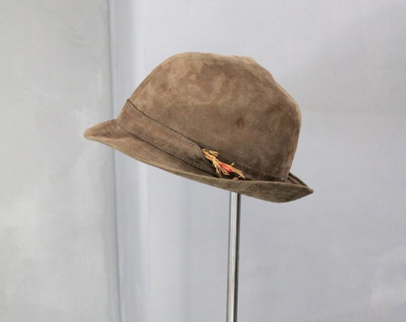 British vintage triby hat, suede hat, Roland Hut, leather and silk triby hat, CHAP191717