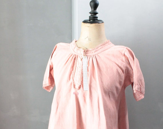 Large antique French metis linen dress, dyed in rosewood, boho dress, pink linen dress in pink linen CH181460 shirt