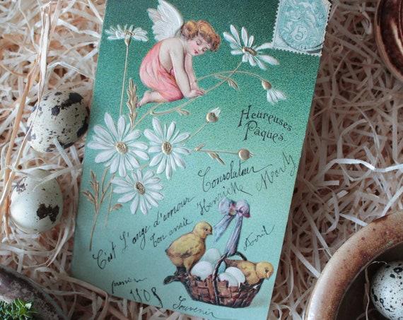 Carte postale ancienne, carte de voeux, carte joyeuses pâques, carte 1910, carte de collection, carte ancienne embossée