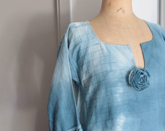 French century-old hemp dress - Tie - Dye - Early 20th - Made in France - Blue Indigo - Size 40/42 - CH160496