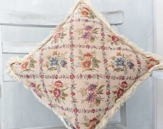 """Cushion in vintage French upholstery fabric, dimensions 42x42cm - 16 1/2 """"x 16 1/2"""", Vintage cushion, shabby chic cushion,"""