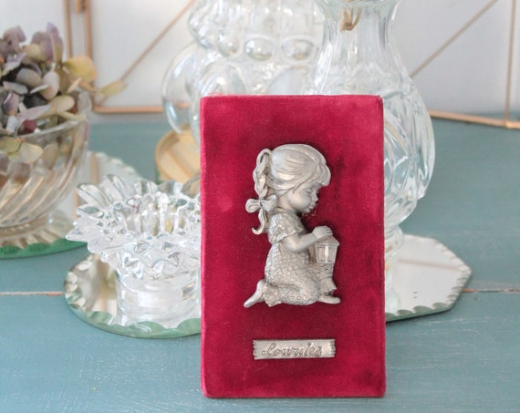 Vintage Red Wall Decor, Pewter Girl on Red Velvet, CDR181586