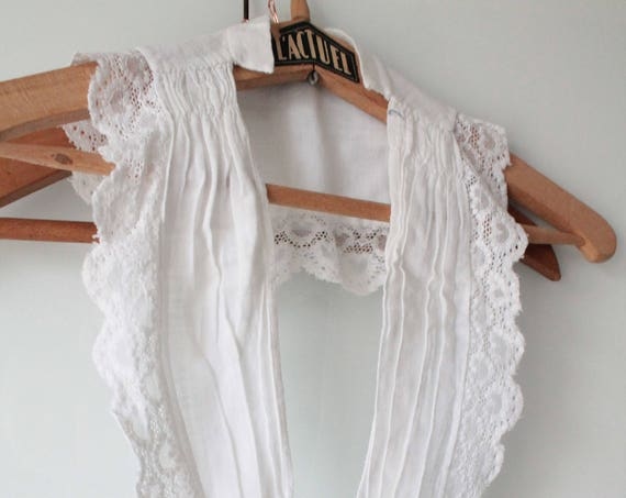 Large white collar old french linen, lace and pleats, old white ceremony, COL171294 accessory