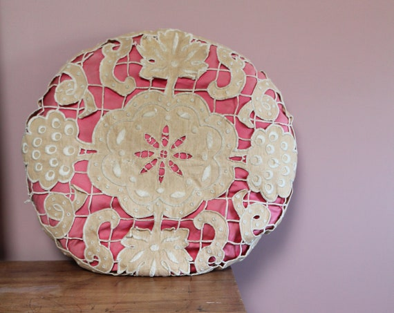 Antique embroidered round cushion, beige and pink cousin, boudoir cushion, COUS210100