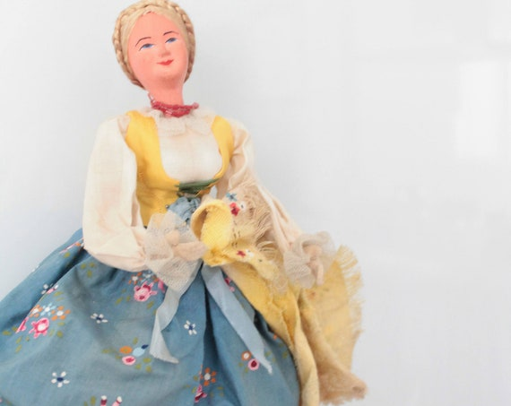 Old country, traditional costume doll painted by hand, Dutch doll