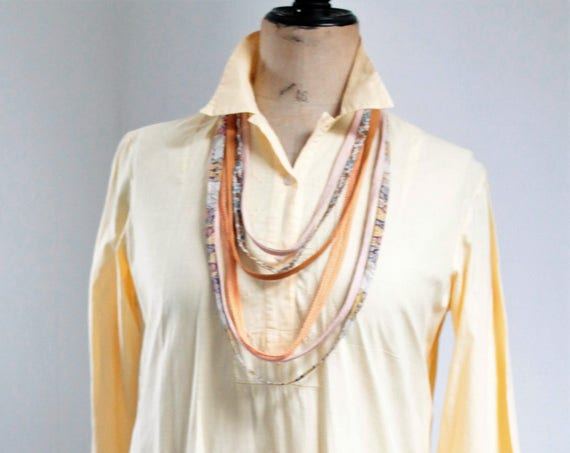 Home dress made of a beautiful natural cotton late nineteenth century , tie and dye, orange
