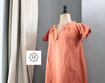Grande Robe ancienne, panty bloomer, French dress in mixed race of linen, burnt orange, orange dress, old linen shirt, CH191678