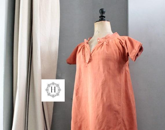 Great old dress, panty bloomer, French linen halfdress, burnt orange, orange dress, old linen shirt, CH191678