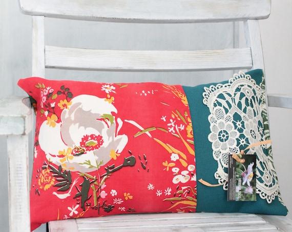 Coussin Fleurs Bohèmes, recto verso, Coussin Made in France / Tissus fleuris vintage années 1950/ COUS150153