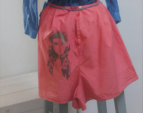 Nuisette brodée de 1920, shorty assorti, teintés en corail, robe d'intérieur en coton,robe ancienne, Lingerie ancienne, Monogramme