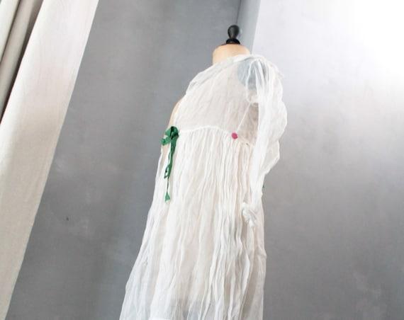 Old dress top,linen baptist,white veil dress,wedding veil,girl ceremonial dress, embroidered boho dress, long linen shirt,CH191715
