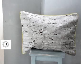 Lemon yellow velvet cushion, taupe velvet cushion, bohemian chic cushion, unique cushion, gift for her, velvet upholstery,