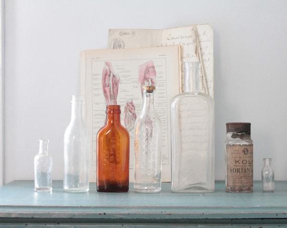 Bottle glass, bottle of pharmacy, industrial Decor, apothecary, curiosities, amber colored bottle, bottle, pharmacy, shabby Decor,