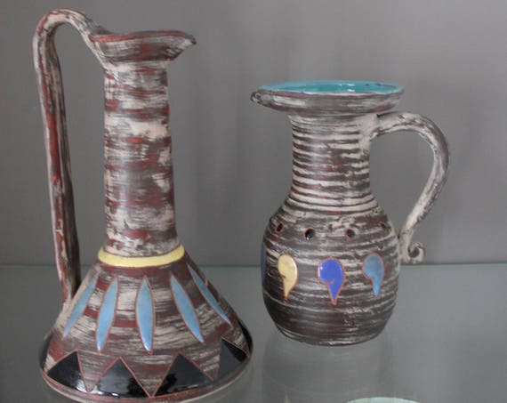 2 art ceramics, Made in France, Elie BARACHANT (1919-1993), ceramic and pottery, french art ceramic, enamelled sandstone