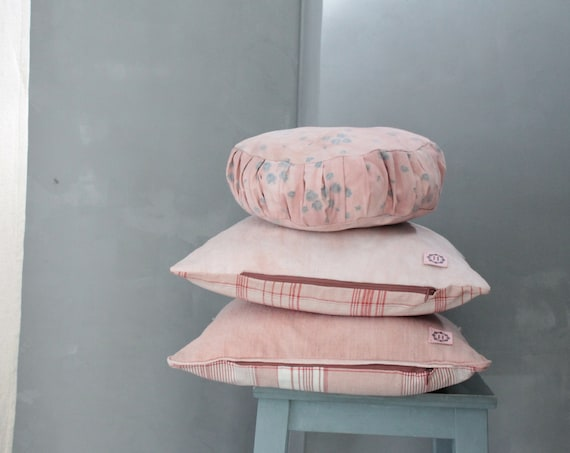 Pink linen cushion, vegetable dye, hand-dyed linen cushion, antique linen, pink cushion collection,