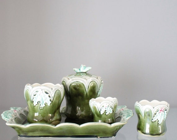 Smoker's Set, Old Ceramic Green Pots, Green Dab, Ceramic Toilet Set, Orchies France, CERA181422
