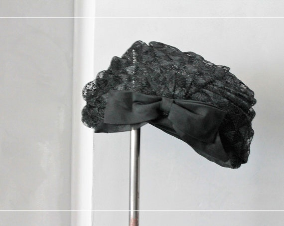 Headdress old black rayon and mesh hat, Black Hat for women, evening CAP, ceremonial hat, CHAP191711