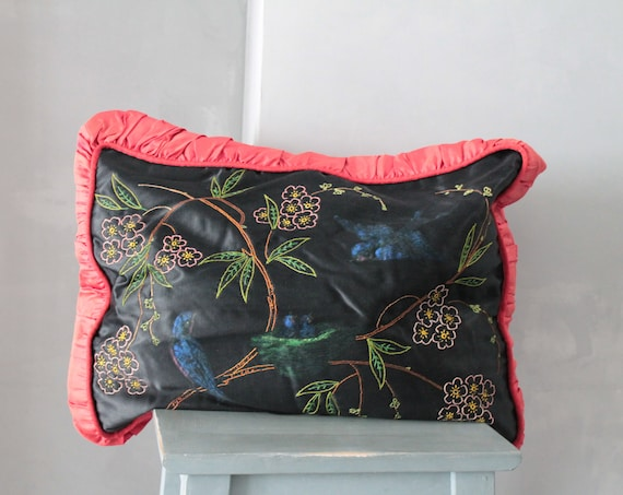 Embroidered French vintage cushion, hand painted and embroidered silk, for a chic cottage decor, COUS181450