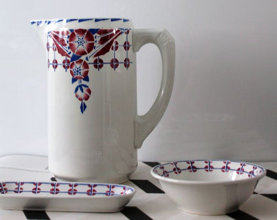Art Déco bathroom set, Made in France, French art déco ceramic, gift for her, Bleu and Rosewood, ST150259