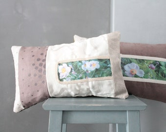 Throw pillow with flowers, linen and velvet, gift for her, 50X30cm COUS160340