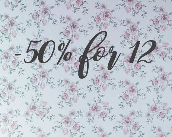 Discount of 50% off from 12 items purchased