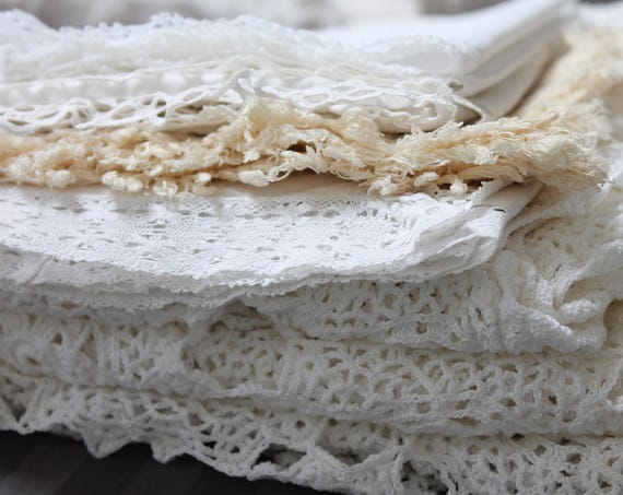 White vintage french chimney top, white cotton antique french linens, farmhouse decor, rustic farmhouse