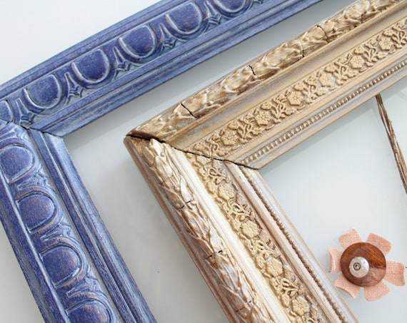 Old Blue French frame, wooden frame, Framing Supply, Jewelry Frame, Wedding Frame, CDR180503