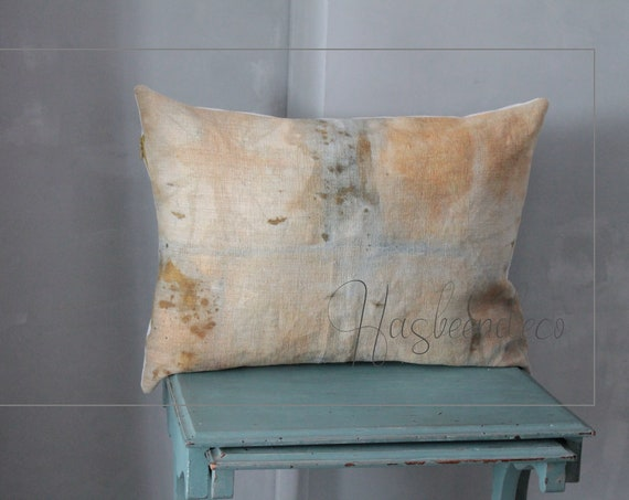 Large BLUE Cushion in antique french linen, vegetable dye, hand-dyed linen cushion,centenarian linen,light blue cushions,blue unique cushion