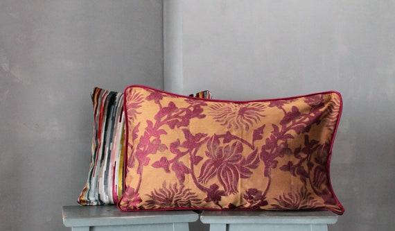 Large Velvet Upholstery Cushion, Burgundy and Golden Pillow, Bohemian Chic Orange Cushion, Unique Pillow, Unique Gifts, 191872