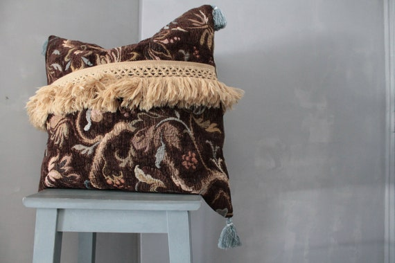"Large 22X22"" Square Cushion,Upholstery, Boho Chic Pillow,"