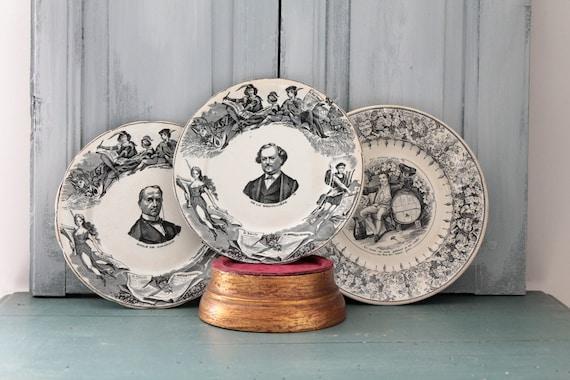 Old Old Bordeaux plate, souvenir plate, transfer plate, Boulenger ceramics, ASD191822/23