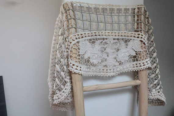 Hand-crafted beige crochet curtain, furniture top, handmade crochet work in France, RID201922