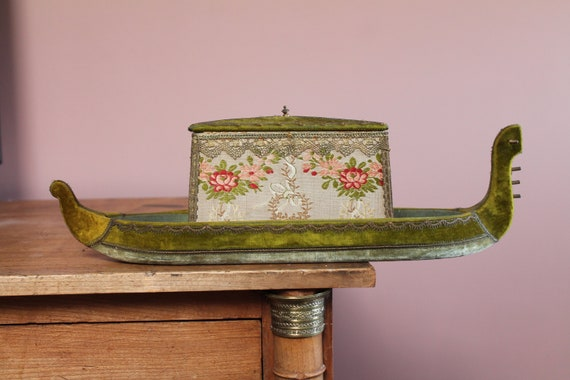 French upholstered box, old fabric box, gold thread, upholstery fabric, 3326