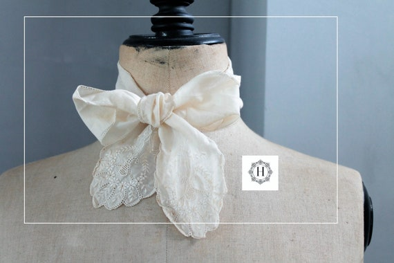 Antique bow tie, christening bow or wedding bow, christening scarf, child photo prop, wedding decor,