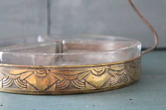 Art deco dish with compartments, old silver dish, silver metal, French silverware, ARG191838