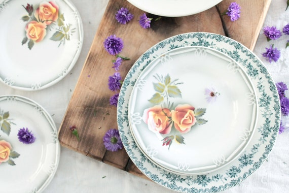 French Vintage set of 6 dessert plates, Adèle Digoin Sarreguemines France, old French dishes, transferware