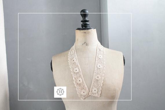 Col ancien en dentelle, fait main au crochet, accessoire ancien, mode ancienne, col de mariage, accessoire babydoll, COL191833
