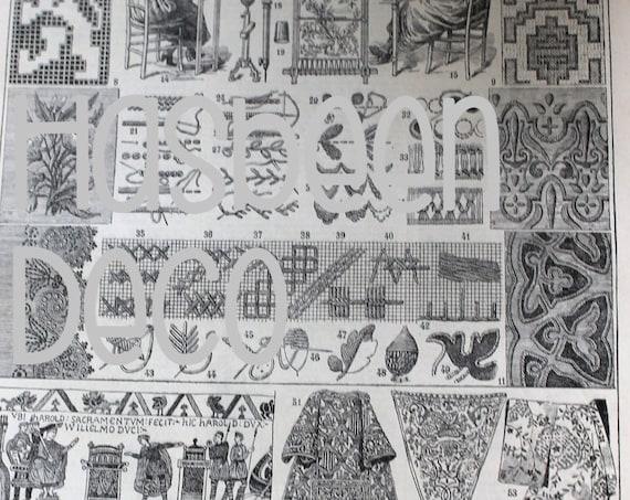 Illustration ancienne provenant d'un Larousse de 1925, sur la broderie - Page Larousse 20X29 cm, Affiche ancienne