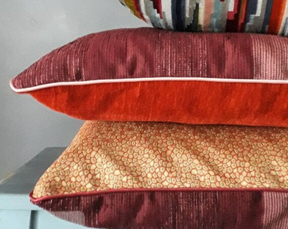 Velvet Cushion, Burgundy and Yellow Pillow, Bohemian Chic Orange Cushion, Unique Pillow, Unique Gifts, 191870