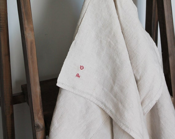 2 Ancient hemp torches late 19th early 20th - monogram P G on a towel on both - Old French linen - TCH160517