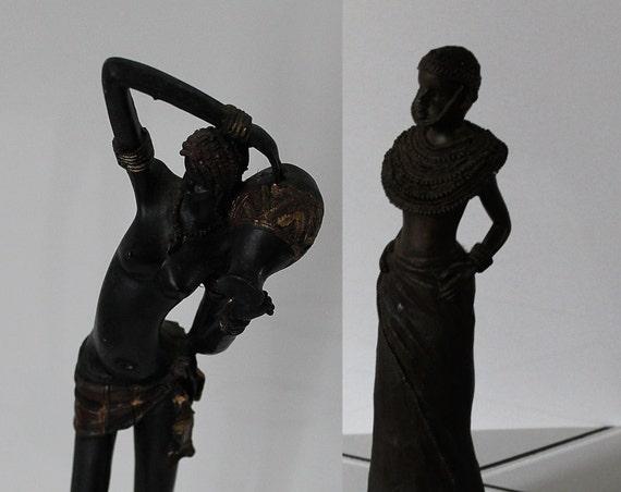Statuette africaine en résine environ 30 cm // Statue Africaine / Afrique / peuple Masaï