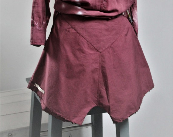Antique french Bloomer, Antique Shorty, Late 19th Century, Old Lingerie, Plum Bordeaux, Old Linen, PA160692